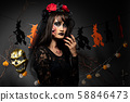 Zombie woman with Wound face black hair red rose 58846473