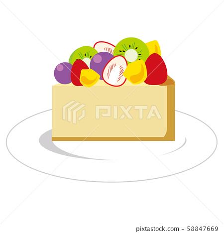 Fruit cake tart on a plate 58847669
