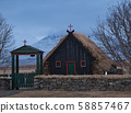 The entrance to a small peat church in Iceland 58857467