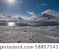 Beautiful winter landscape with the sun and a lake 58857543