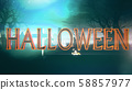 Halloween Creepy 3D Illustration with Text 58857977