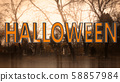 Halloween Creepy 3D Illustration with Text 58857984