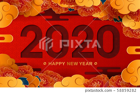 "Happy New Year 2020. Flower and Auspicious Clouds on red background. Chinese translation: ""Happy New Year"". 58859282"