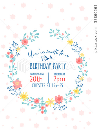 Invitation To Birthday Party With Cute Floral Design In Pastel Colors Vector Illustration 58860365