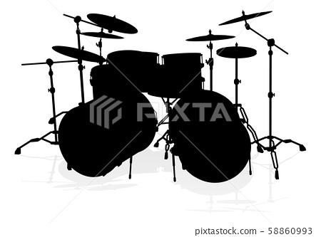 Drum Kit Musical Instrument Silhouette 58860993
