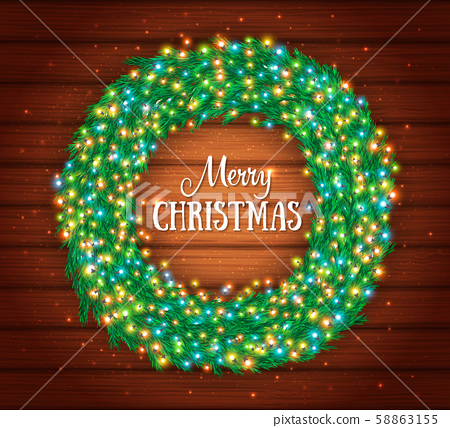 Christmas wreath with colourful glowing garlands 58863155