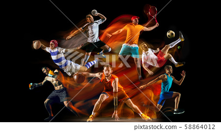 Creative collage of childrens and adults in sport 58864012