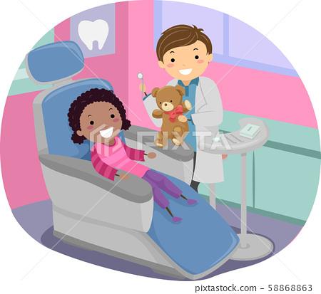 Stickman Kid Girl Dentist Toy Illustration 58868863