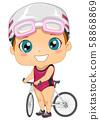Kid Girl Triathlon Bicycle Illustration 58868869