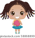Kid Girl Black Bowling Illustration 58868899