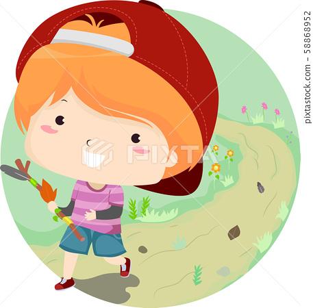 Kid Boy Journey Stick Illustration 58868952