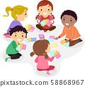 Stickman Kids Play Card Game Illustration 58868967