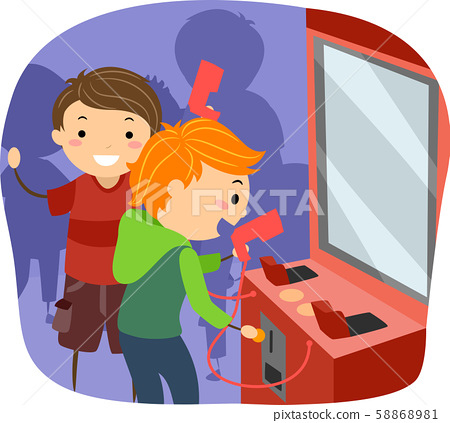 Stickman Kids Boys Insert Coin Arcade Illustration 58868981