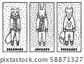 Set of cute doodle Christmas cards with a fox, a rabbit, and a ferret, wearing knitted scarfs and sweaters. Black and white hand-drawn vector illustration.  58871327