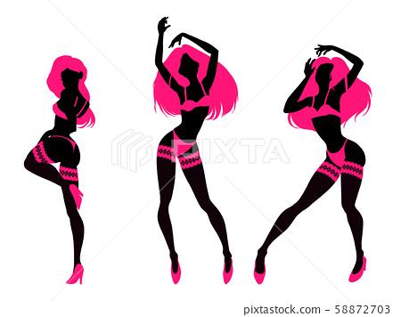 Sexy Woman Silhouette In Underwear Club Burlesque Stock