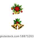 Vector christmas bells with christmas tree decorations 58873263
