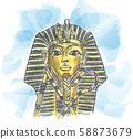 Golden mask of Egyptian pharaoh hand drawn 58873679
