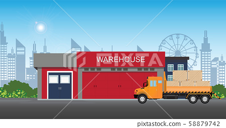 Warehouse building with semi-trailer truck. 58879742