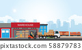 Commercial port with freight train. 58879783