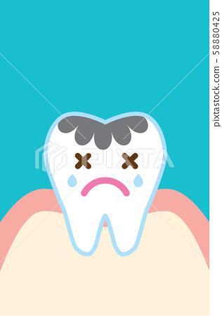 可愛的卡通植入牙說明 58880425