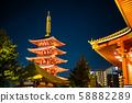 Tokyo Sensoji Temple lighted up at the main hall 58882289
