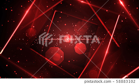 Red virtual abstract background space tunnel with neon line lights 58883102