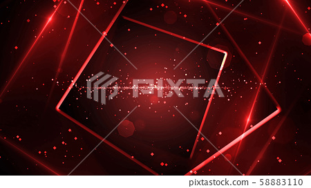 Red virtual abstract background space tunnel with neon line lights 58883110