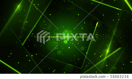 Green virtual abstract background space tunnel with neon line lights 58883238