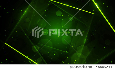 Green virtual abstract background space tunnel with neon line lights 58883244