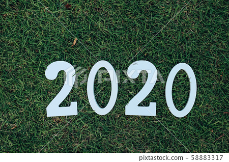 2020 numbers on the grass  ,happy new year 58883317