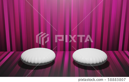 3d rendering  display has a shell-like circle, white in color for placing product advertisements. With beautiful pink-purple walls 58883807