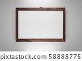 dark wooden frame isolated on white background 3d render illustration 58888775