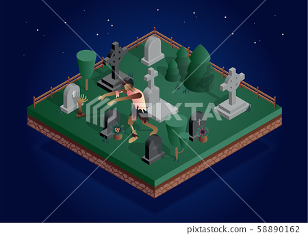 Isometric vector night cemetery location with creepy zombies. 58890162