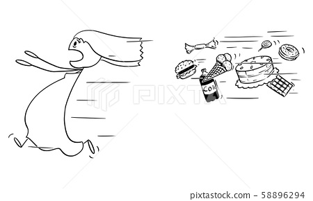 Vector Cartoon Illustration of Fat Woman Running Away Chased by Unhealthy Junk Food 58896294