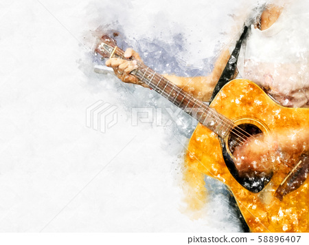 Abstract colorful shape on playing acoustic guitar on watercolor illustration painting background. 58896407