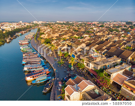 Aerial view of Hoi An ancient town in Vietnam. 58897050