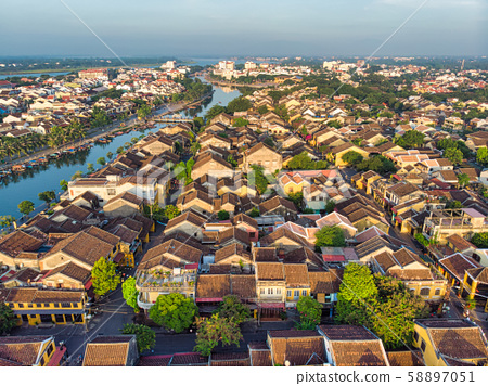 Aerial view of Hoi An ancient town in Vietnam. 58897051