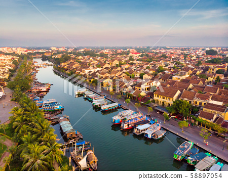 Aerial view of Hoi An ancient town in Vietnam. 58897054