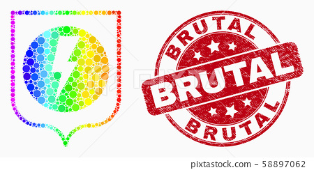 Vector Rainbow Colored Pixel Electric Shield Icon and Scratched Brutal Watermark 58897062