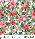 Seamless watercolor pattern with Christmas 58897440