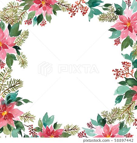 Watercolor Christmas floral arrangement. Frame 58897442