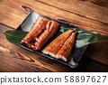 unagi, japanese eel on plate 58897627