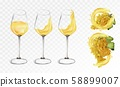 White grapes wine in glasses on transparent background. Splashes white wine. 3D Vector illustration 58899007