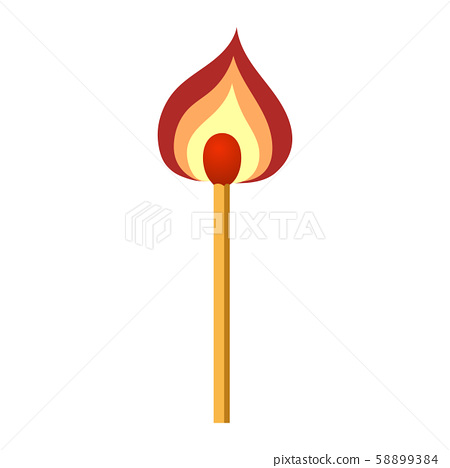 Burning match with flame isolated on white background. Flat vector icon for web, apps. 58899384