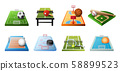 3d playgrounds for different kinds of sports icon set isolated on white background, soccer, table 58899523