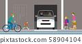 住宅車庫汽車和行人。矢量素材 58904104