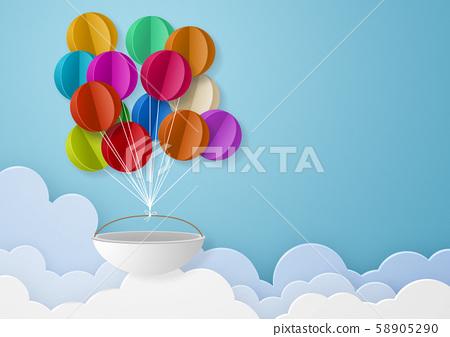 종이 공예 - 하늘 - 구름 - 풍선 58905290