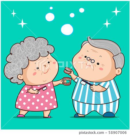 Grandparent clean dentures vector illustration. 58907006