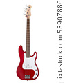 Red electric bass guitar isolated on white 58907886