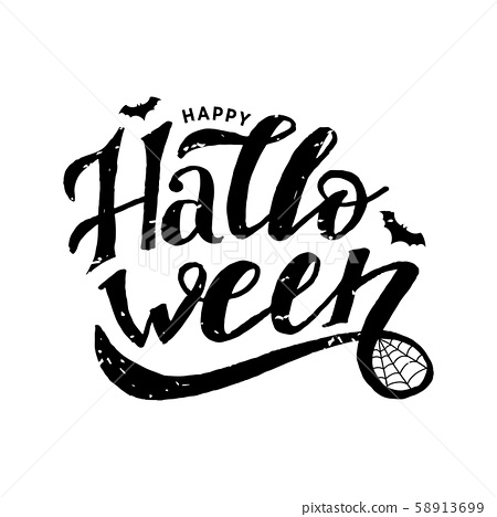 Happy Halloween Lettering Calligraphy Brush Text Stock Illustration 58913699 Pixta